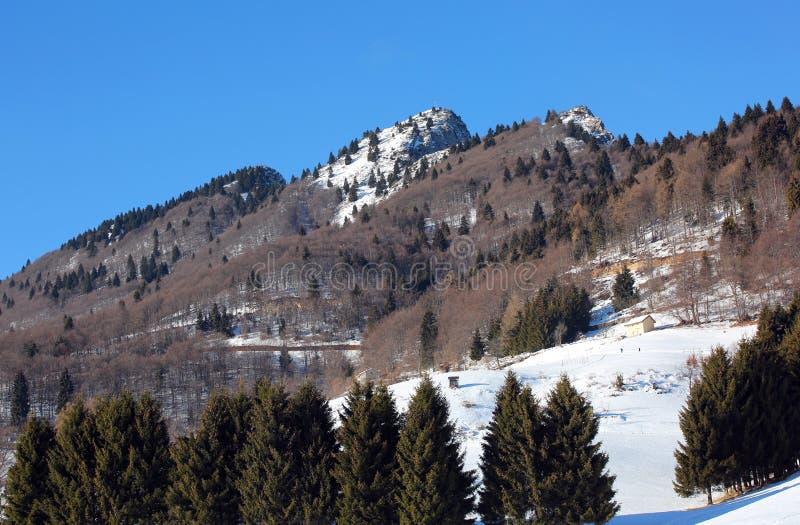 与白色雪在冬天和叫的峰顶的全景山 免版税库存图片