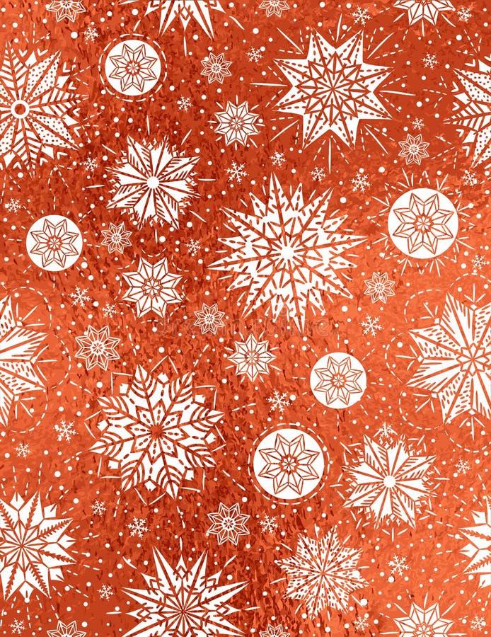 与白色雪花和星的红色光滑的圣诞节背景, 向量例证