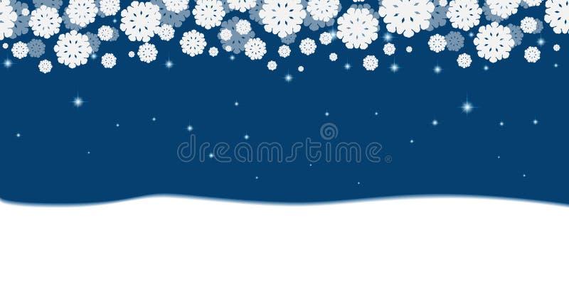 与白色雪花和雪边界的蓝色圣诞节背景 皇族释放例证