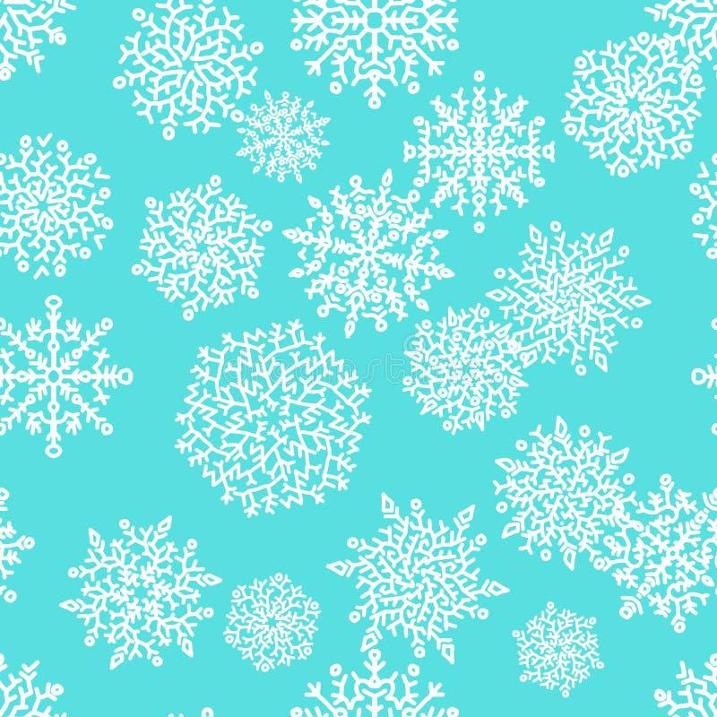 与白色雪花的圣诞节无缝的样式在蓝色背景 也corel凹道例证向量 皇族释放例证