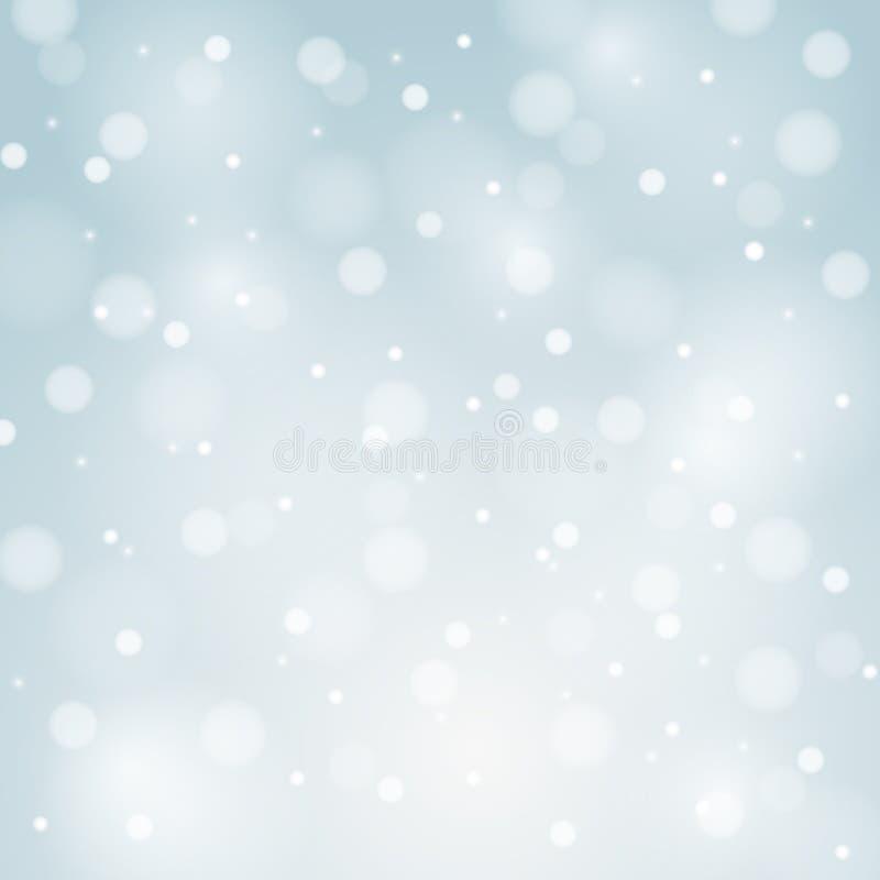 与白色雪花的蓝色传染媒介圣诞节背景 库存例证