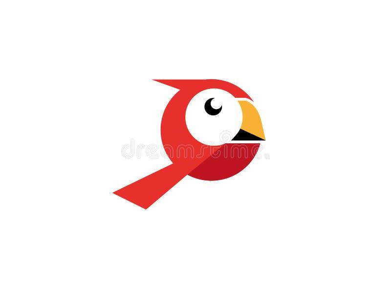 与白色面孔和黄色额嘴的红色鸟商标的 向量例证