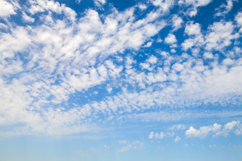 与白色高积云的自然蓝天 库存照片