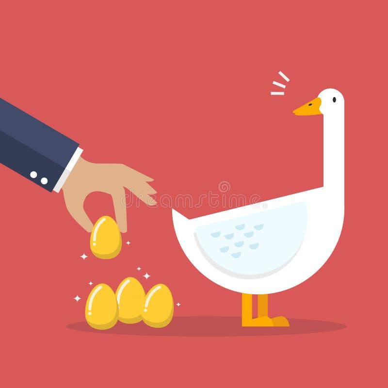 与白色鹅和金黄鸡蛋的商人 皇族释放例证