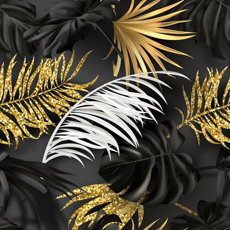与白色,黑和金黄热带植物的无缝的夏天样式 纸的,墙纸,盖子现代抽象设计 皇族释放例证