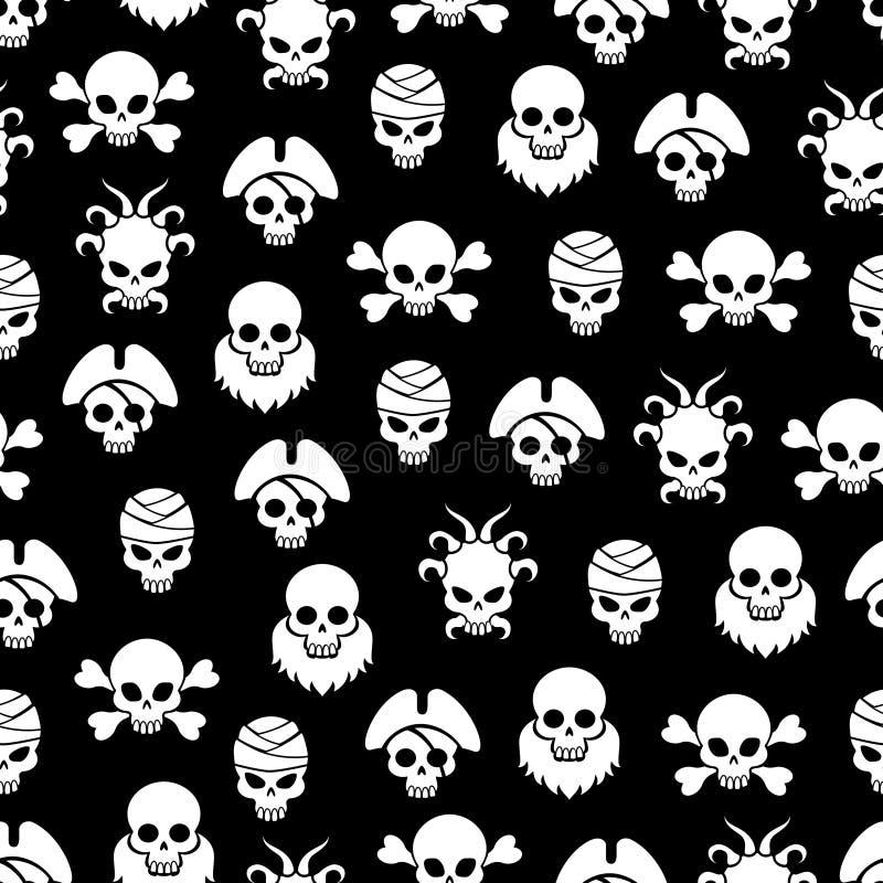 与白色头骨的海盗无缝的样式 库存例证