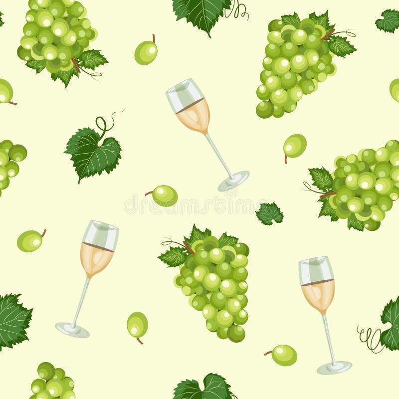 与白酒酒杯的葡萄束无缝的样式在绿色背景,白葡萄仿造背景,白酒 皇族释放例证
