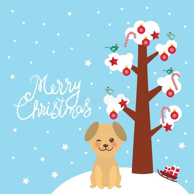与白雪的圣诞快乐新年的卡片设计Kawaii金黄米黄狗树在分支、鸟和红色圣诞节deco 库存例证