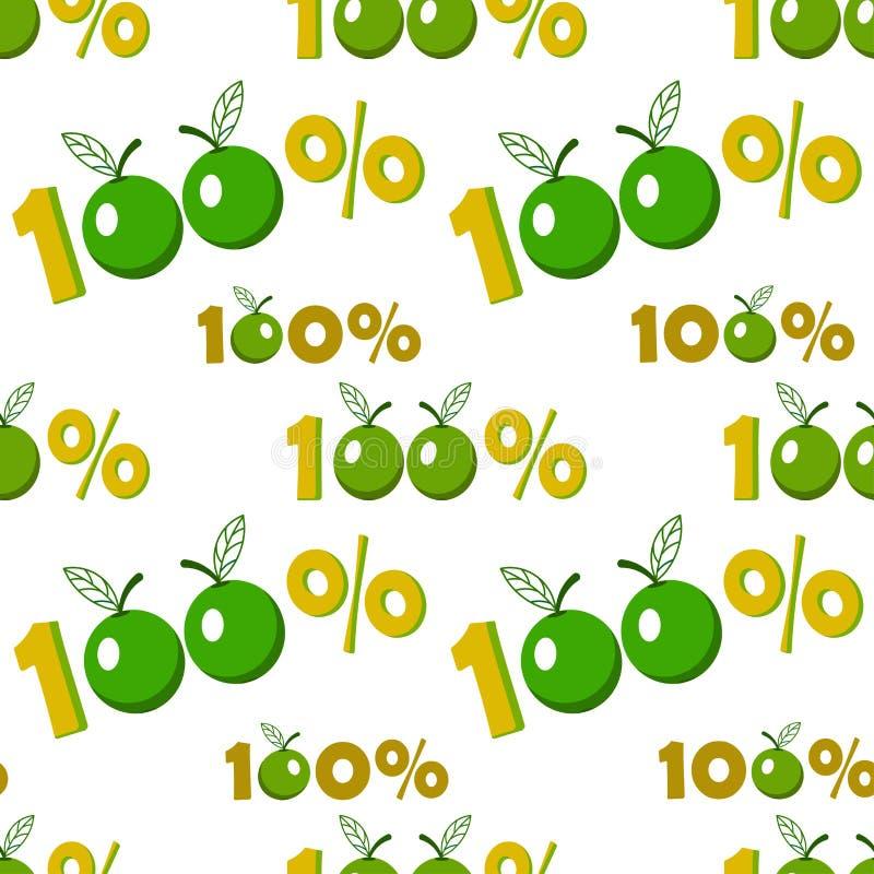 与百分之一百苹果标志的无缝的背景 皇族释放例证