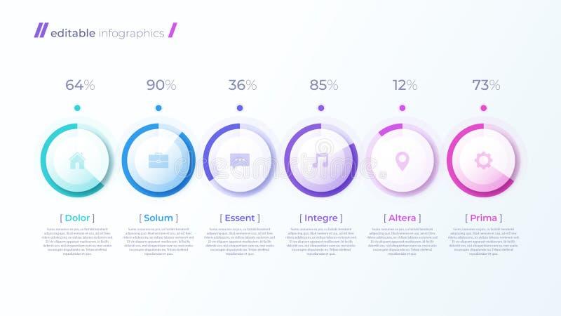 与百分比图的传染媒介现代编辑可能的infographic模板 皇族释放例证