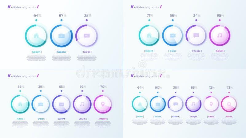 与百分比图的传染媒介现代编辑可能的infographic模板 向量例证