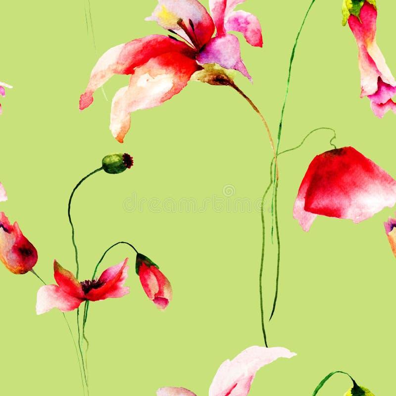 与百合、鸦片和郁金香的无缝的墙纸 向量例证