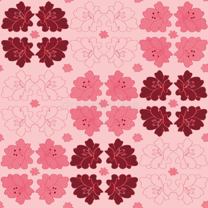 与百合花的几何传染媒介样式在桃红色 库存例证