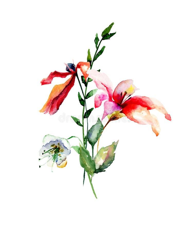 与百合,鸦片花和绿色叶子的卡片 皇族释放例证