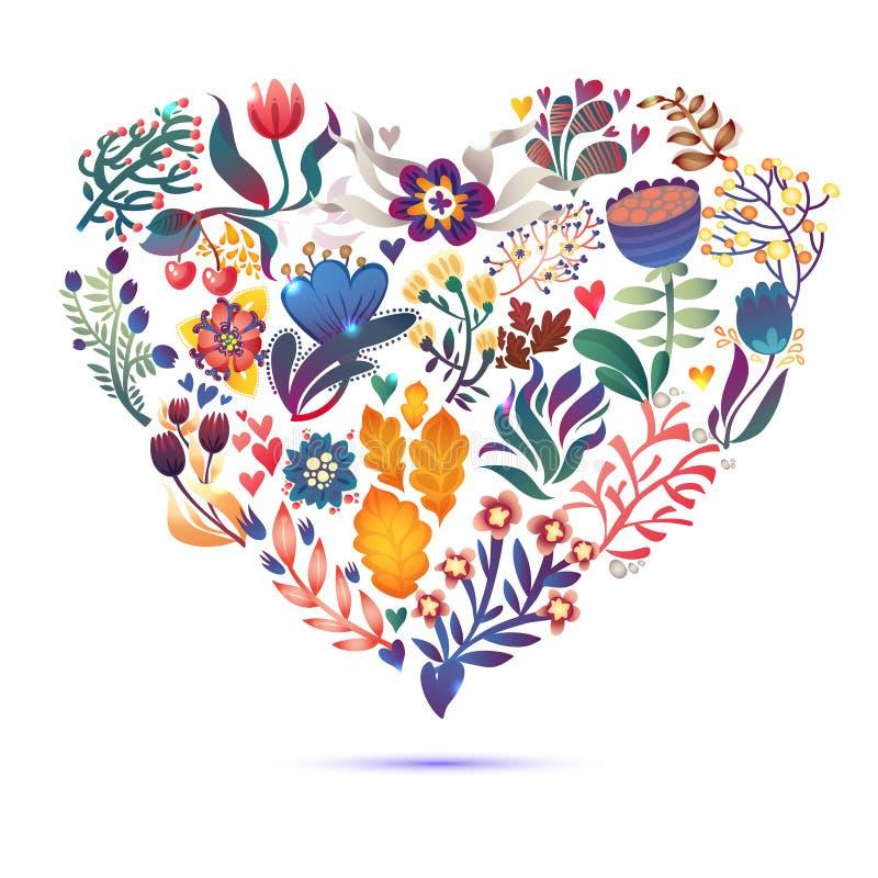 与百花香的爱卡片 情人节与心脏形式的传染媒介例证 向量例证