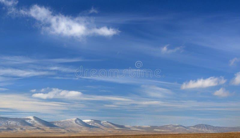 与的冬天风景用黄色干草和雪盖的光滑的小山在与壮观的云彩的深蓝天空下 免版税库存照片