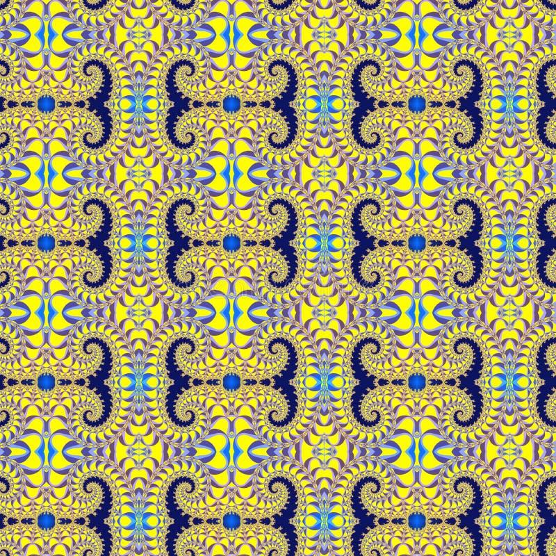 与的分数维无缝的样式优美的螺旋 向量例证