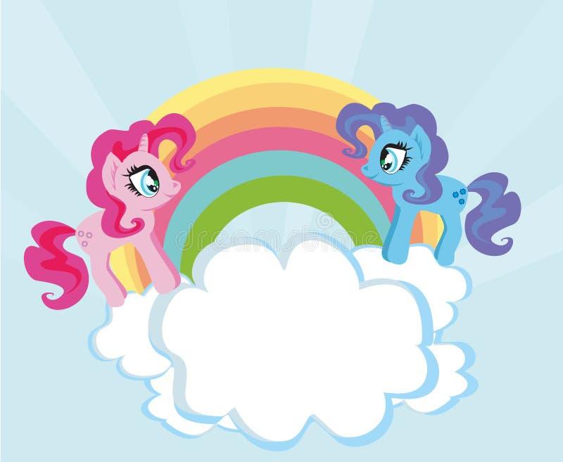 与的卡片逗人喜爱的独角兽和彩虹 向量例证