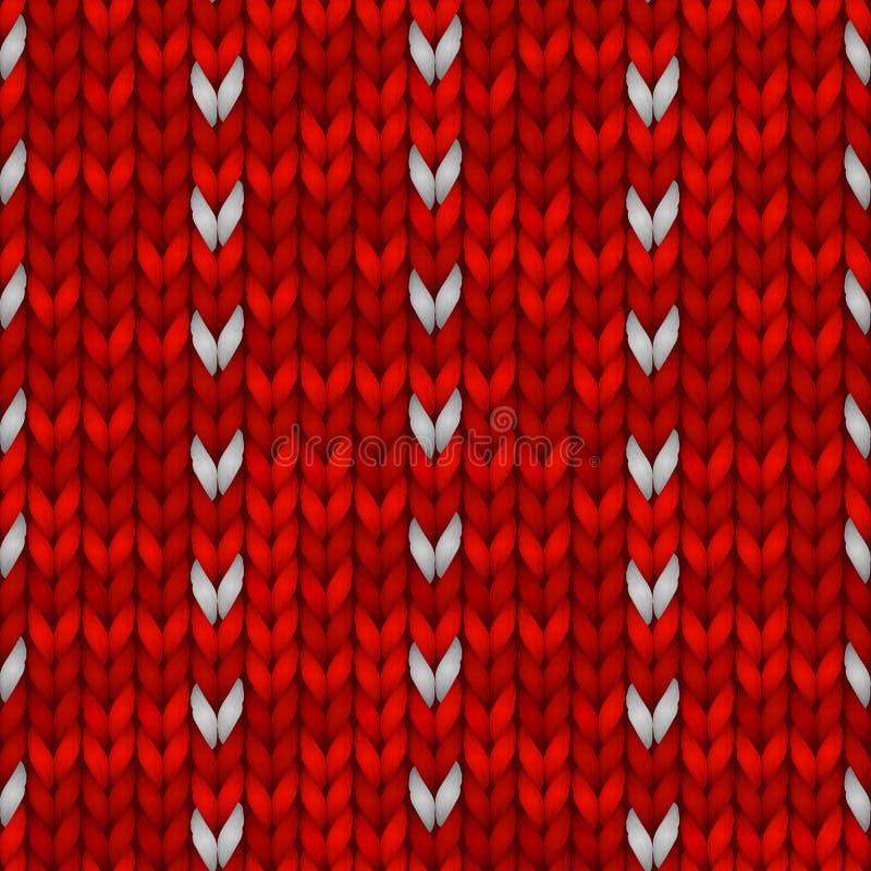 与的寒假无缝的编织的样式雪花 红色编织了毛线衣设计 传染媒介例证为 向量例证