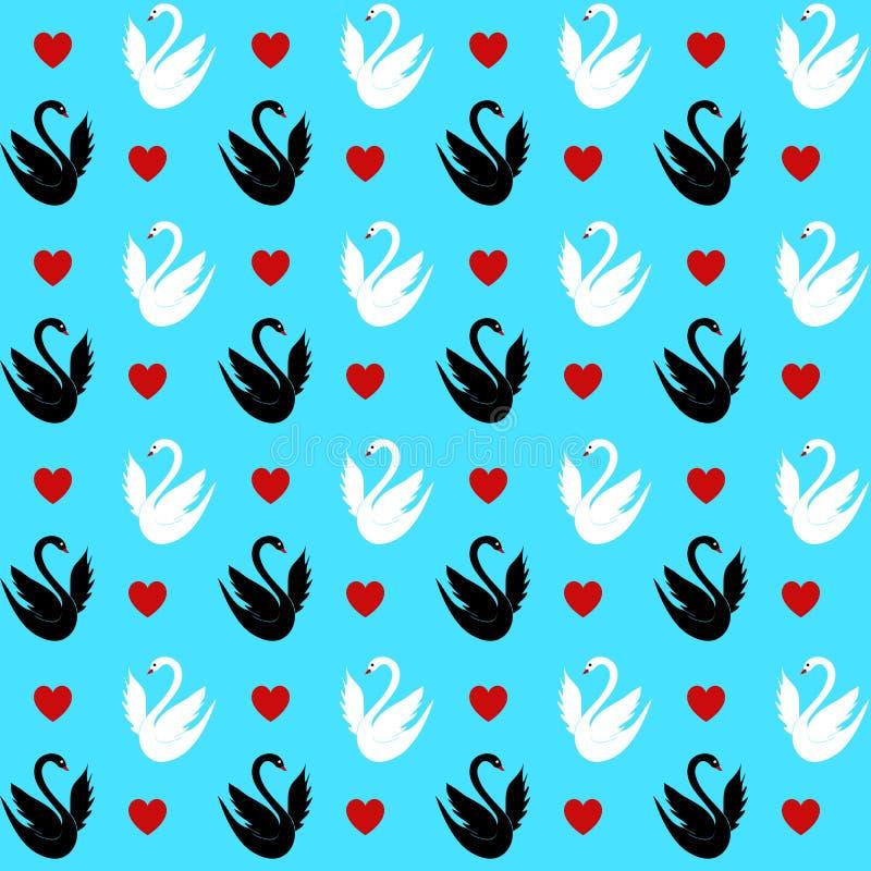 与的无缝的样式心脏和天鹅 免版税图库摄影