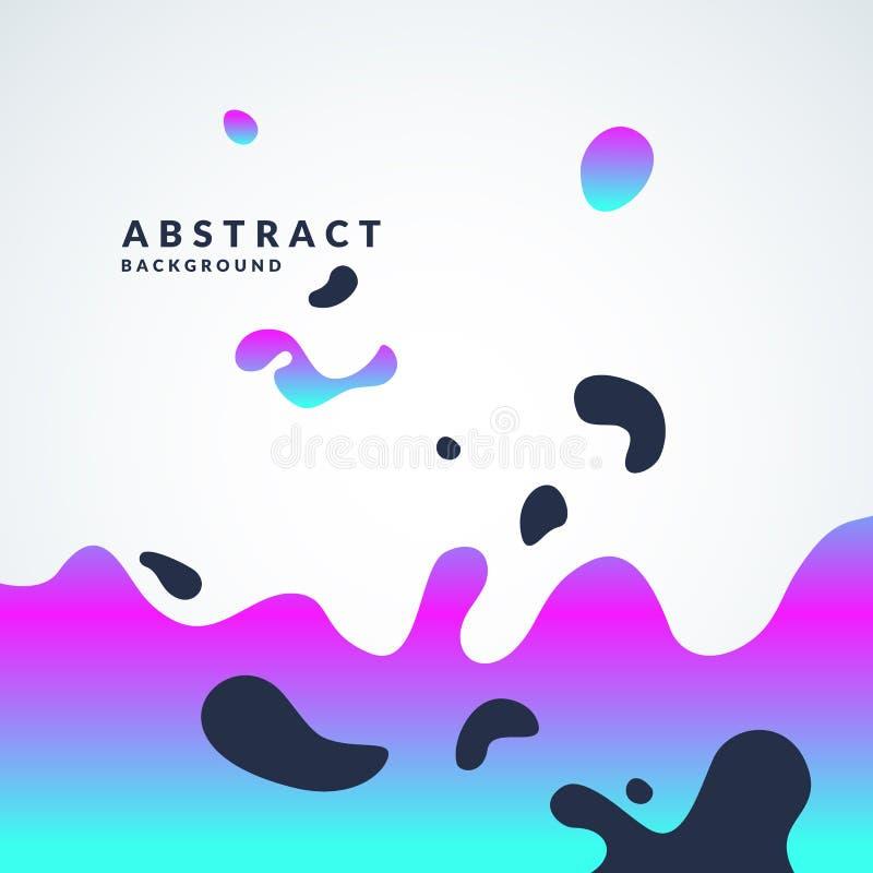 与的明亮的抽象传染媒介背景动态波浪和飞溅 与梯度的海报 皇族释放例证