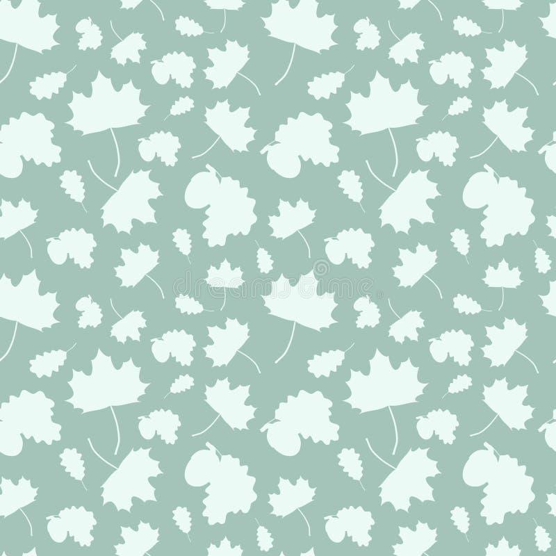 与的树的落的叶子的无缝的样式:槭树、橡木叶子和橡子 库存例证
