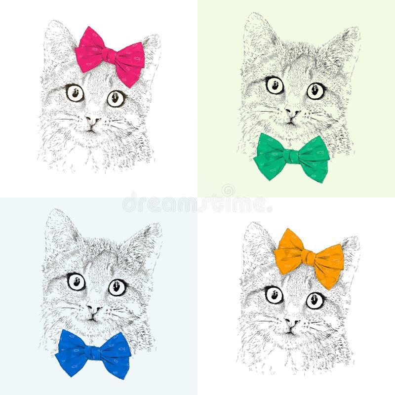 与的猫弓 无缝的模式 彩色组 现实图表例证 向量例证