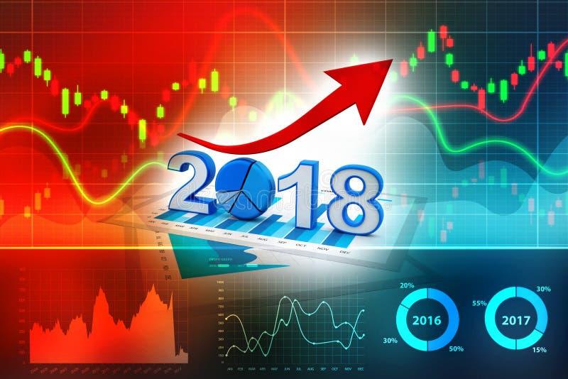 与的箭头和2018年标志,企业成功的企业图表 向量例证