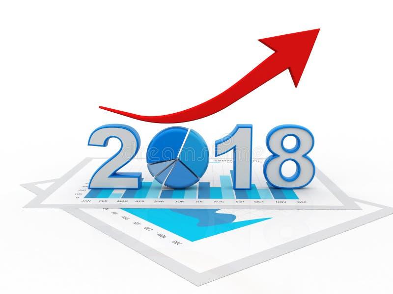 与的箭头和2018年标志,企业成功的企业图表 皇族释放例证