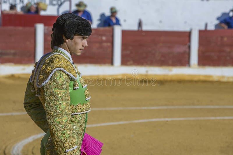 与的西班牙斗牛士塞巴斯蒂安Castella斗牛 免版税库存图片