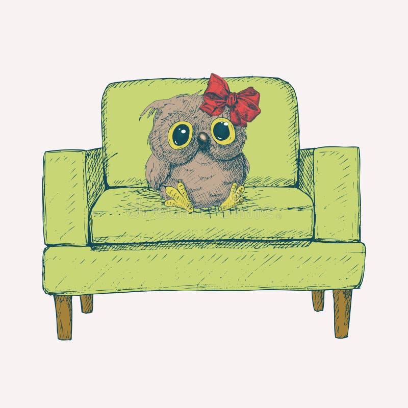 与的逗人喜爱的猫头鹰坐easychair 草图 拉长的现有量 库存例证
