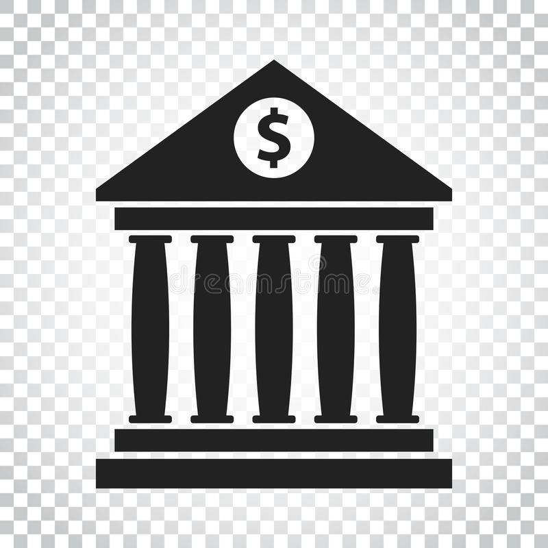 与的银行大楼象美元的符号平的样式 博物馆传染媒介 库存例证