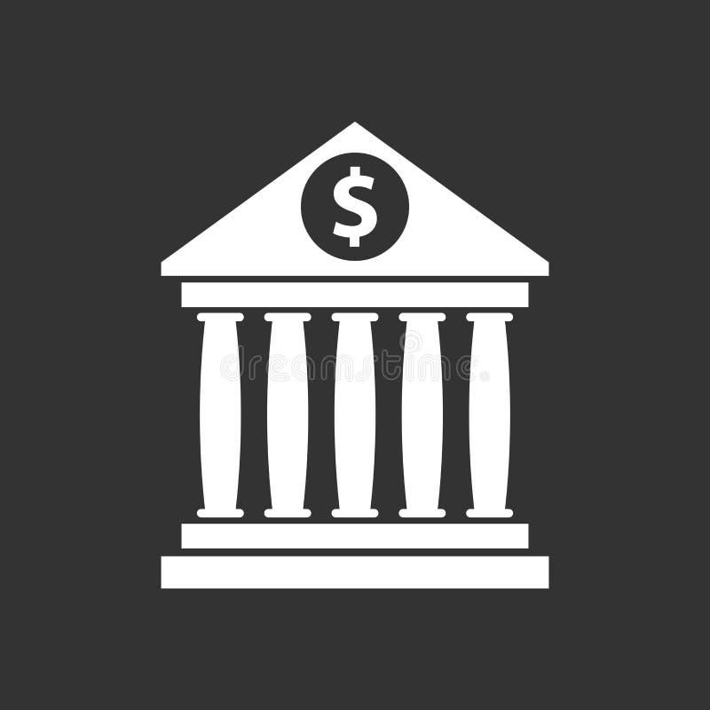 与的银行大楼象美元的符号平的样式 向量例证