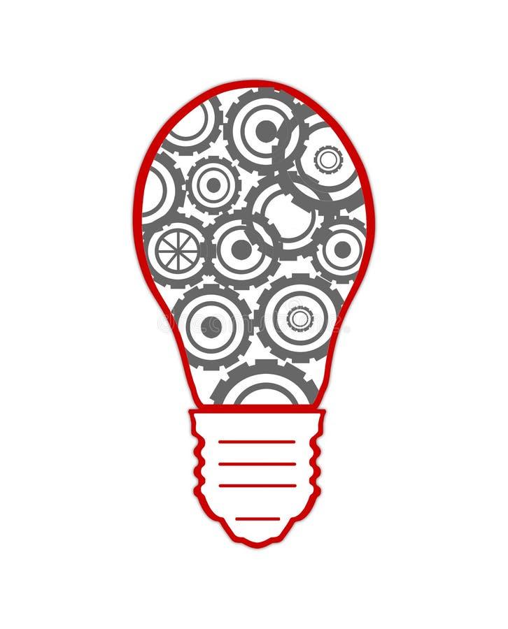 与的齿轮和的嵌齿轮的电灯泡 皇族释放例证