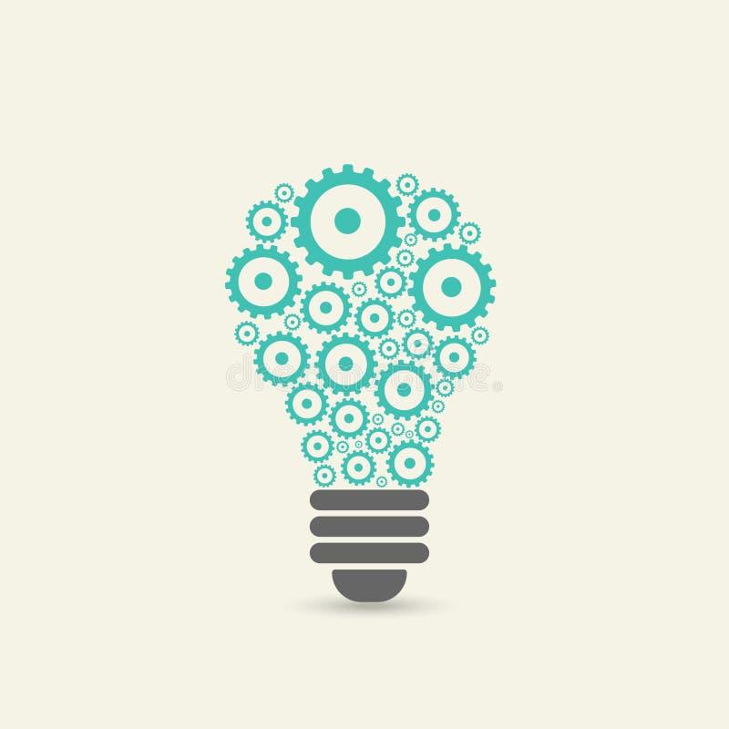与的齿轮和的嵌齿轮的电灯泡 向量例证