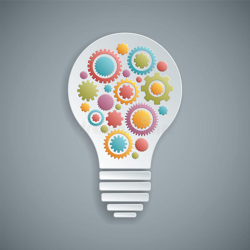 与的齿轮的传染媒介电灯泡 向量例证