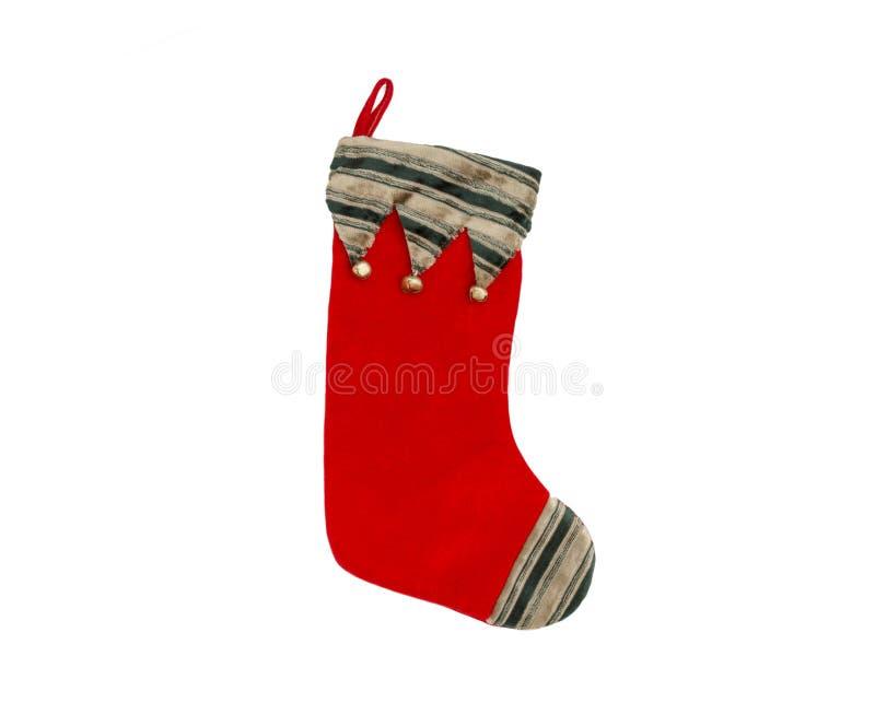 与的绿色和金子镶边的上面的红色天鹅绒圣诞节长袜 免版税库存图片