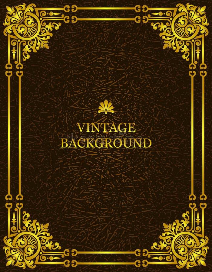 与皇家金样式框架的传染媒介葡萄酒老背景作为创造书套的模板 大模型,例证 皇族释放例证