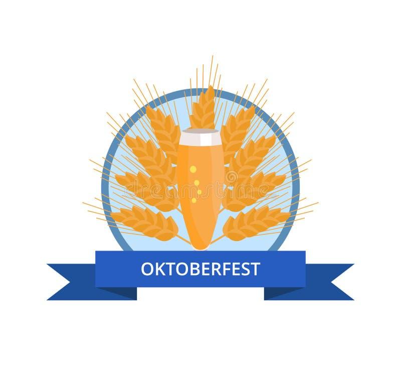 与皮尔逊杯的慕尼黑啤酒节商标在耳朵的啤酒 向量例证