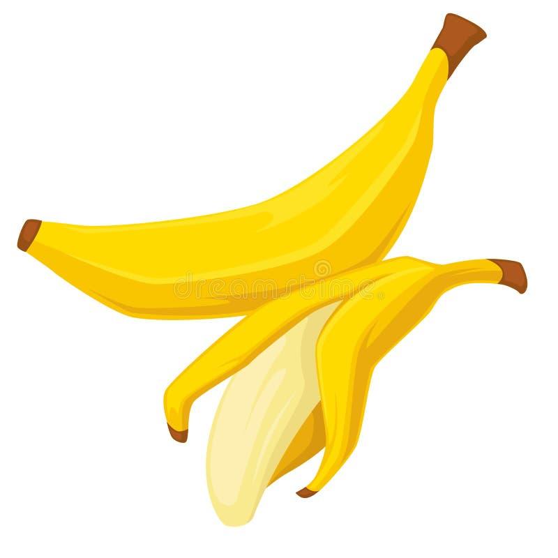 与皮肤和被剥皮的有机食品被隔绝的对象的果子香蕉 向量例证
