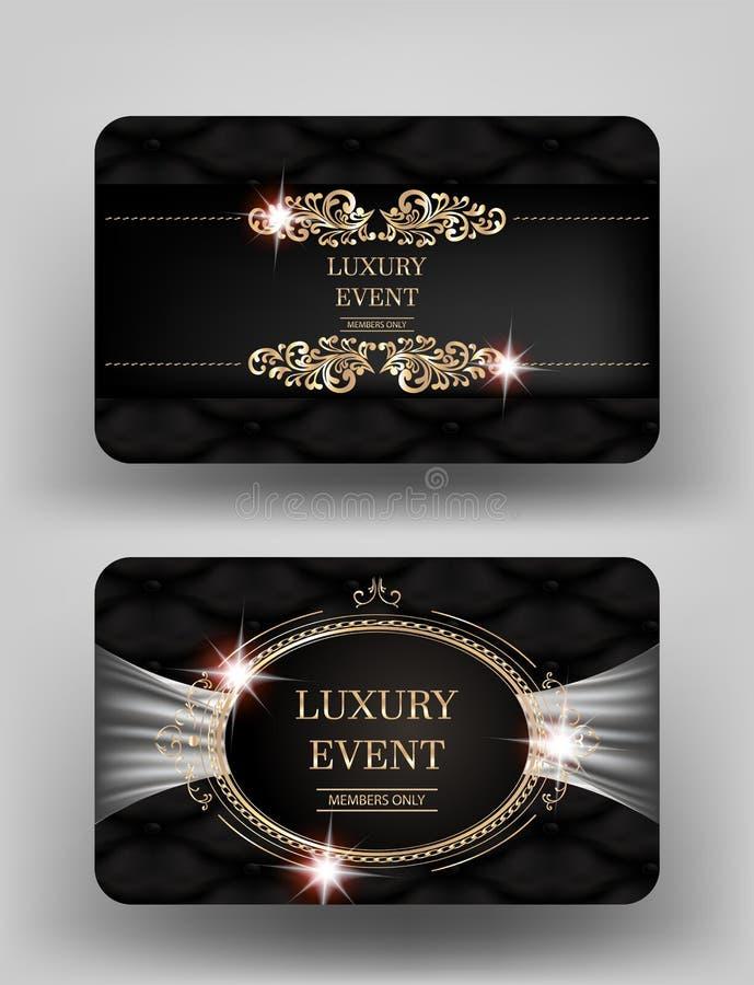 与皮革背景和葡萄酒框架的豪华事件邀请金卡片 向量例证