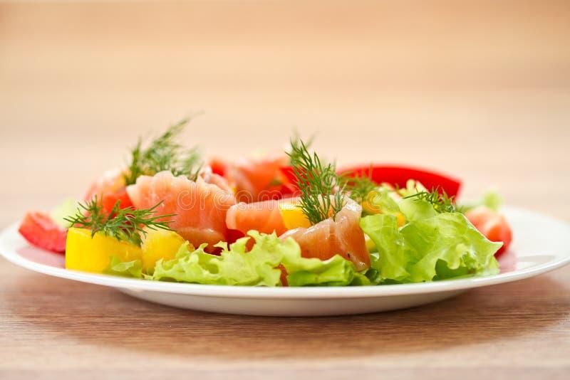 与盐味的三文鱼的沙拉 免版税库存图片