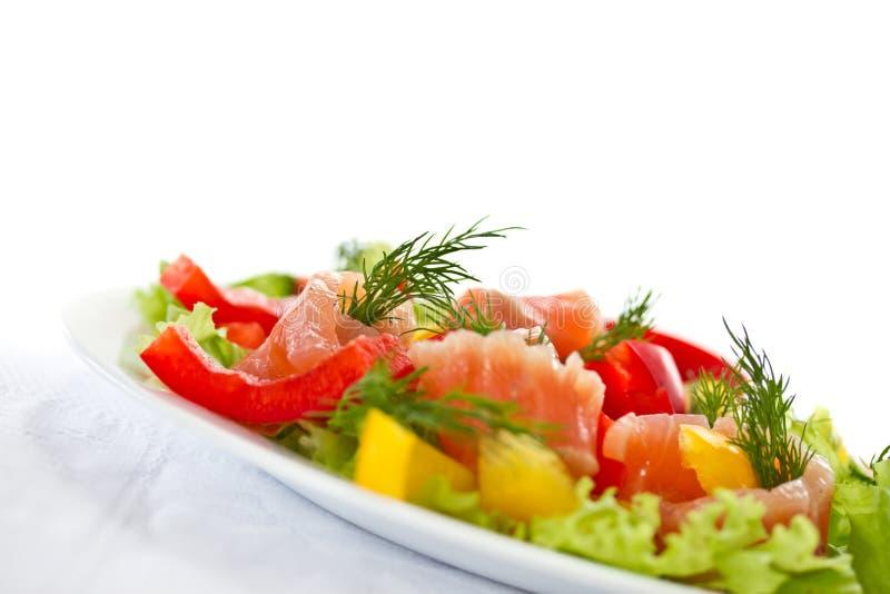 与盐味的三文鱼的沙拉 库存图片