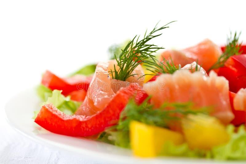 与盐味的三文鱼的沙拉 免版税图库摄影