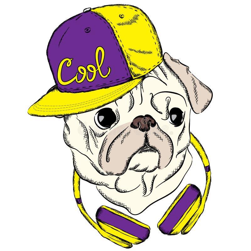 与盖帽和耳机的凉快的哈巴狗 在衣裳或明信片的印刷品 行家 向量例证