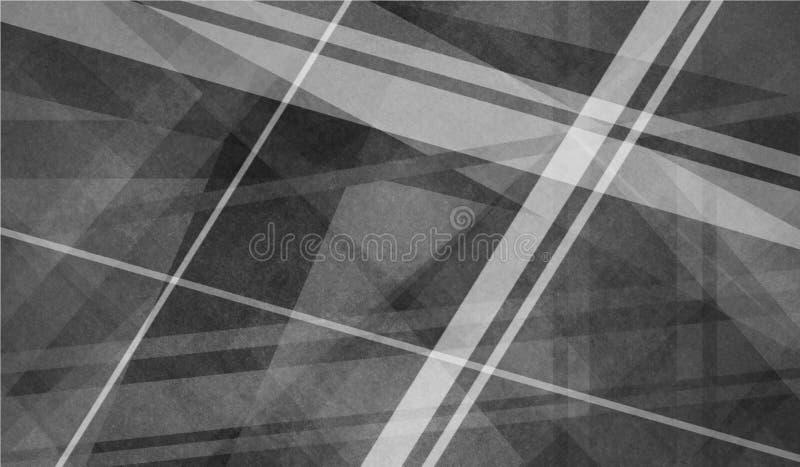 与相交的线和层数的抽象黑白背景 向量例证