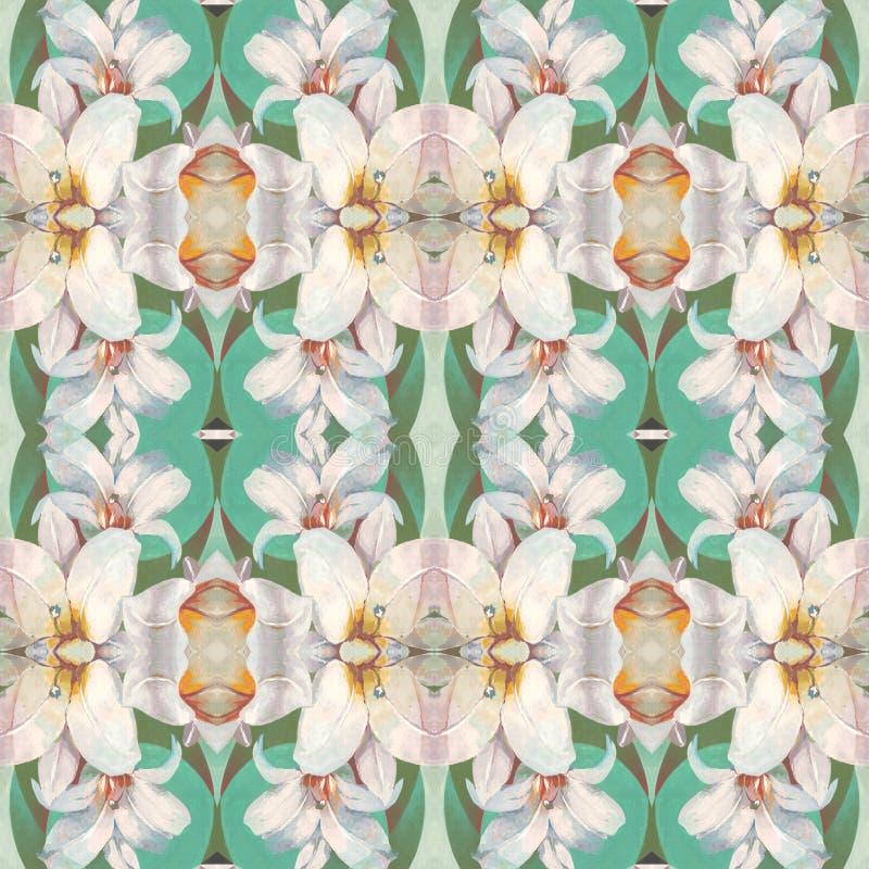 与相当白百合花的无缝的样式在绿色背景,根据手绘画例证 皇族释放例证