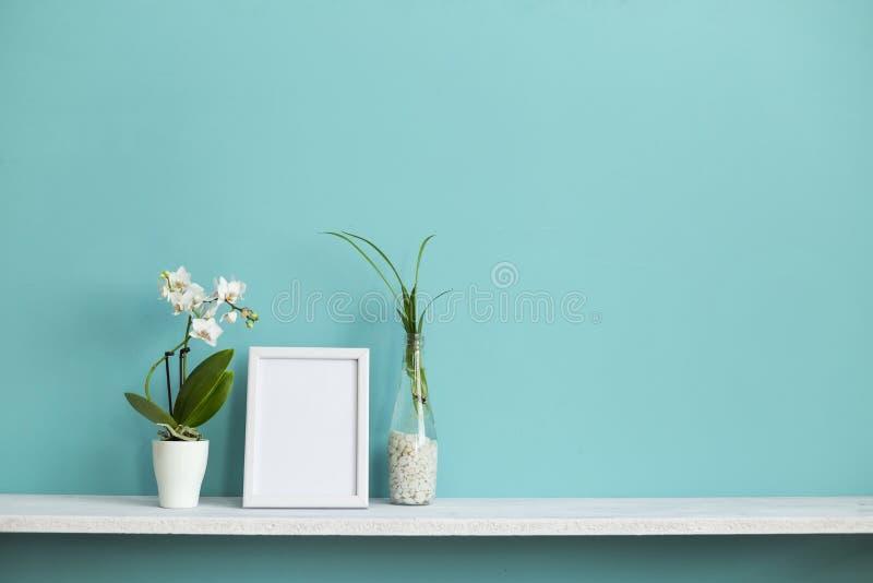 与相框大模型的现代室装饰 白色架子对有吊兰切口的淡色绿松石墙壁在水中 免版税图库摄影