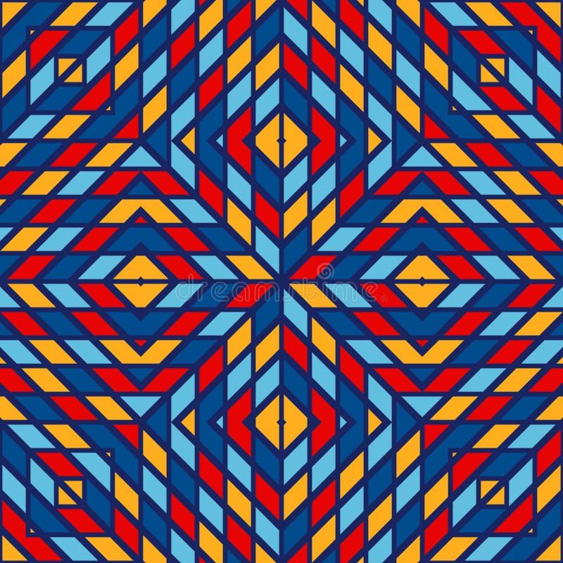 与相称几何装饰品的无缝的样式 摘要彩色玻璃明亮的背景 种族墙纸 库存例证