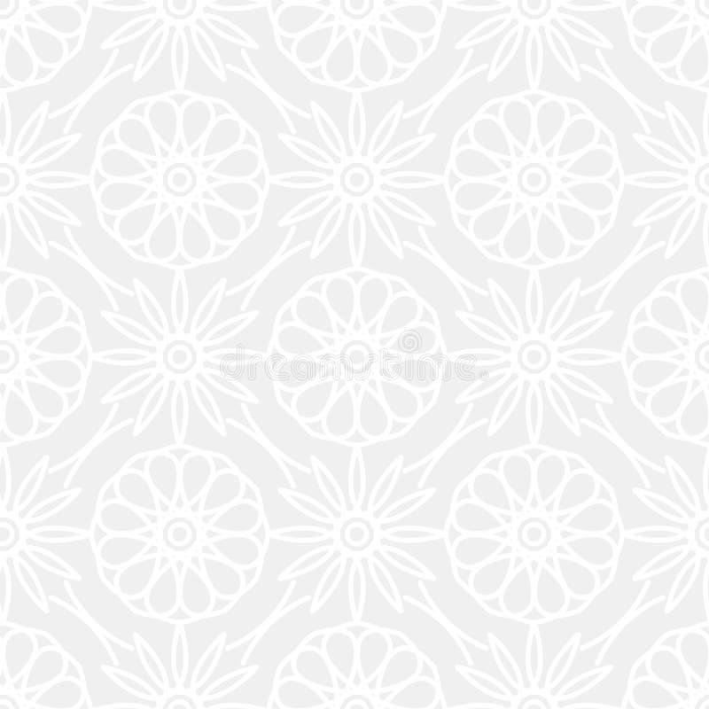 与相称装饰品的无缝的传染媒介样式 在淡色的抽象微妙的几何被环绕的线背景 库存例证